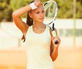 Pretty woman tennis player Stock Photo 07
