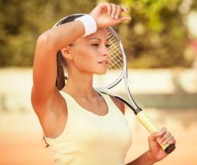 Pretty woman tennis player Stock Photo 08