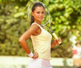 Pretty woman tennis player Stock Photo 09