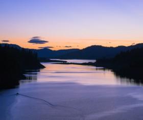 Quiet calm lake at twilight Stock Photo
