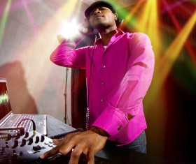 Rappers recording music Stock Photo
