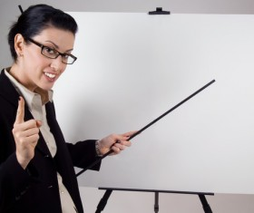 Ready to introduce product woman Stock Photo