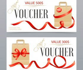 Realistic ribbons vouchers template vector