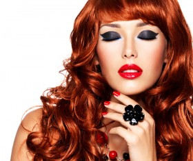 Red-haired woman of fashion make-up Stock Photo 04