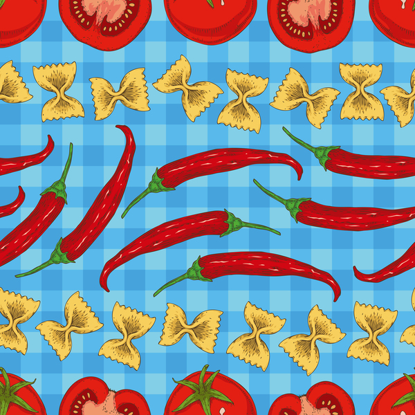 Red pepper and tomato seamless pattern vector