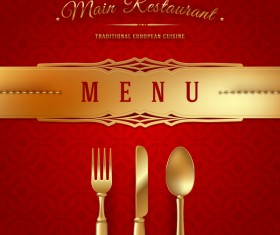 Red restaurant menu cover with vector