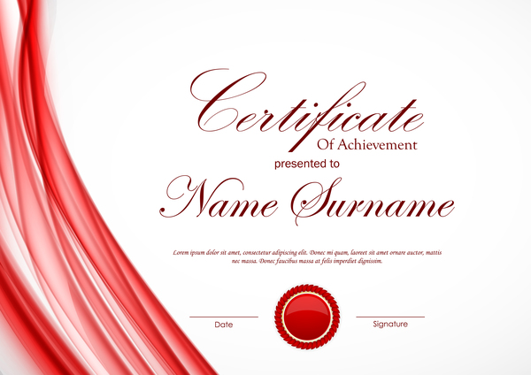 red styles certificate template vector 01 free download