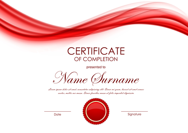 Red Styles Certificate Template Vector 02 Free Download