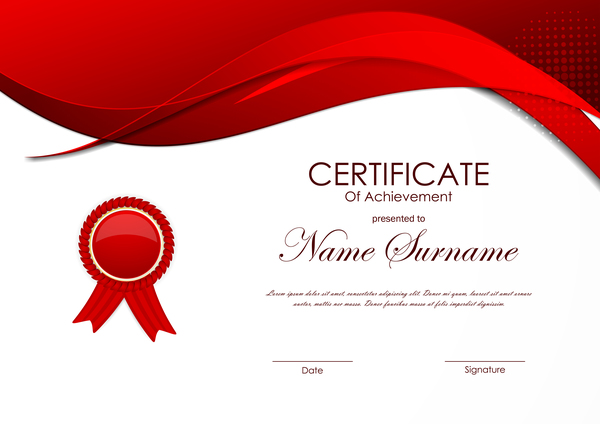 Red Styles Certificate Template Vector 03 Free Download