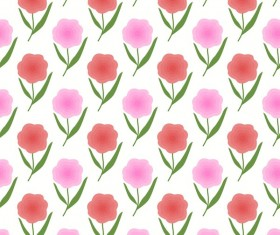 Red with pink flower seamless pattern vectors