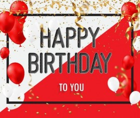Red with white birthday background with balloons vector