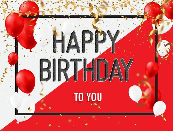 Red With White Birthday Background With Balloons Vector Free Download