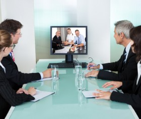 Remote Business Conference Stock Photo