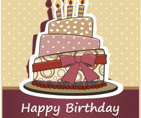 Retro cake with happy birthday card vector