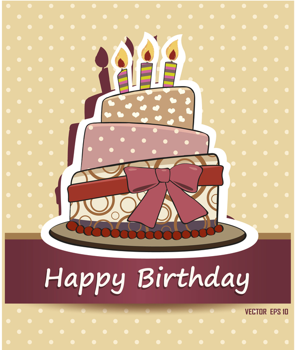 Retro cake with happy birthday card vector