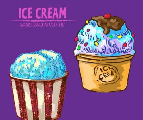 Retro ice cream hand drawing vectors material 10