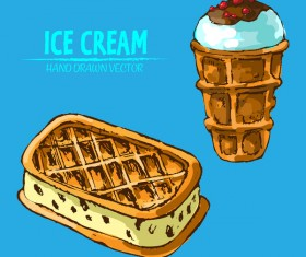 Retro ice cream hand drawing vectors material 11