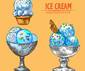 Retro ice cream hand drawing vectors material 12