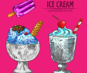 Retro ice cream hand drawing vectors material 13