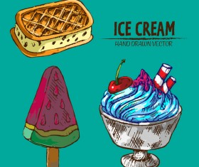 Retro ice cream hand drawing vectors material 14