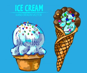 Retro ice cream hand drawing vectors material 15