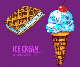 Retro ice cream hand drawing vectors material 16