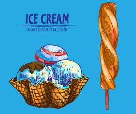 Retro ice cream hand drawing vectors material 17