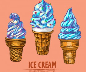 Retro ice cream hand drawing vectors material 18