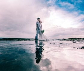 Romantic seaside wedding photo Stock Photo