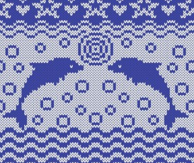 Sea style knitted backgrounds vectors 03