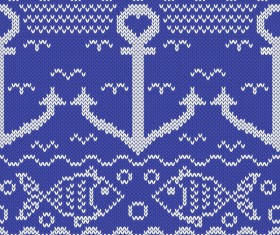 Sea style knitted backgrounds vectors 04