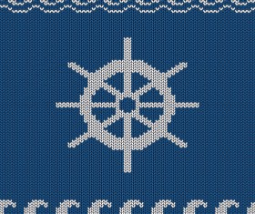 Sea style knitted backgrounds vectors 05