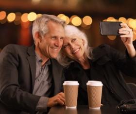 Selfie elderly couple Stock Photo