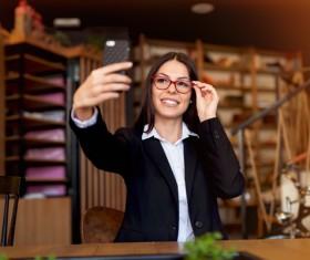 Selfie woman Stock Photo