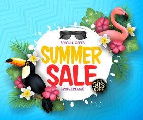 Set of summer sale background design vectors 04