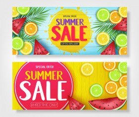 Set of summer sale background design vectors 10