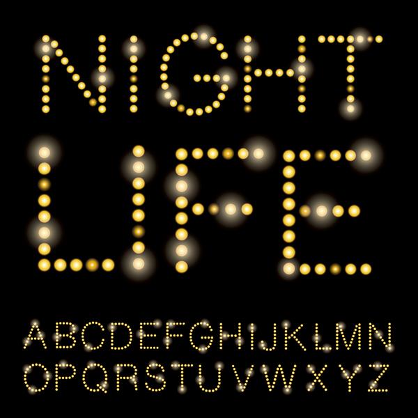 Shiny light dot alphabet vector