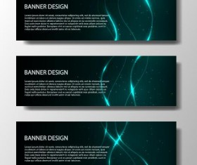 Shiny light line with dark banner vector