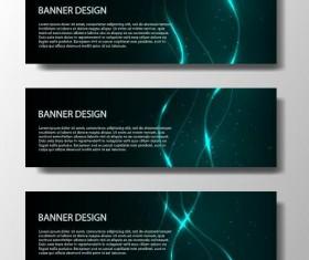 Shiny light line with dark banner vector