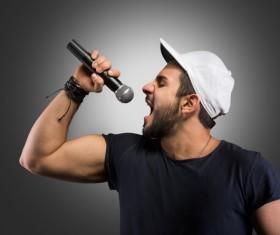 Singing man Stock Photo