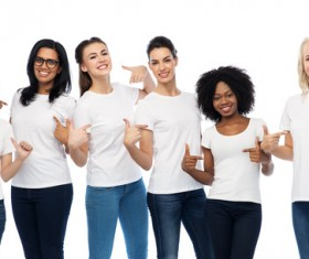 Smiling women of different nationalities Stock Photo 03