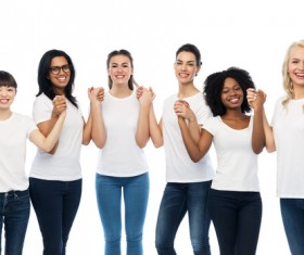 Smiling women of different nationalities Stock Photo 04