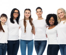 Smiling women of different nationalities Stock Photo 05