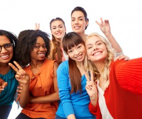 Smiling women of different nationalities Stock Photo 07