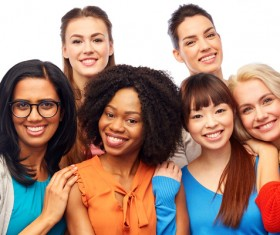 Smiling women of different nationalities Stock Photo 08