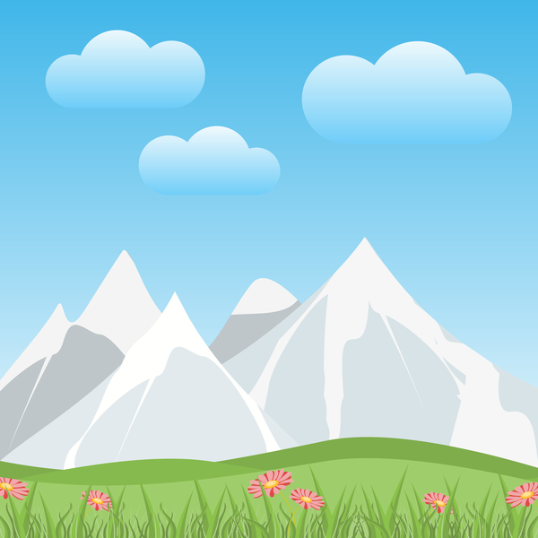 Snow mountain with spring vector background