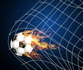 Soccer with fire flame vector