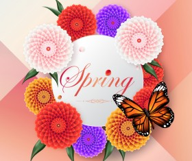 Spring circle card with butterfly vector