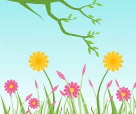 Spring flower with green vector