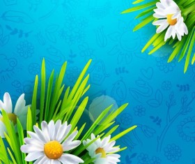 Spring flower with hand drawn pattern vector